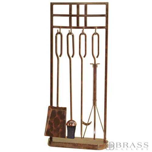 Minuteman 4 Piece 31 H Rustic Copper Fireplace Tool Set With Panes