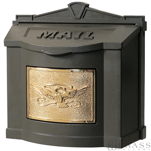 Gaines Brown Wall Mount Mailbox With Polished Brass