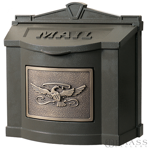 Gaines Brown Wall Mount Mailbox With Antique Bronze