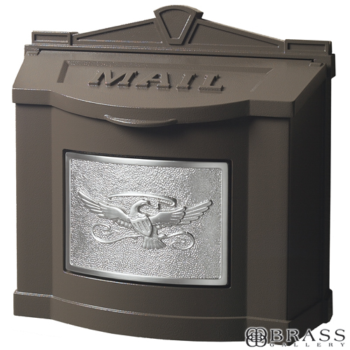 Gaines Brown Wall Mount Mailbox With Satin Nickel Eagle