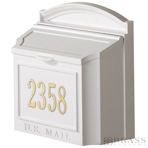 Whitehall Personalized Wall Mount White Mailbox Brass