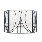 Minuteman - 31&quot; H Tri-fold Black Squares And Arcs Fireplace Screen 