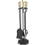 "Minuteman - 5 Piece 32"" H Black Fireplace Tool Set With Brass Handles"