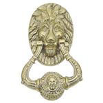 "Brass Accents - 7-1/2"" Lion Door Knocker"