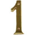 Brass Accents - 4&quot; Traditional Raised Numeral One (1)