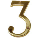 Brass Accents - 4&quot; Traditional Raised Numeral Three (3)