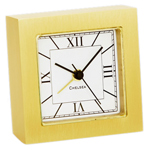 Chelsea Clock - Square Brass Alarm Desk Clock