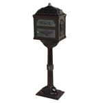 Gaines - Black Pedestal Classic Mailbox With Verde Brass Accents