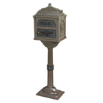 Gaines - Metallic Bronze Pedestal Classic Mailbox With Verde Brass Accents