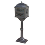 Gaines - Metallic Charcoal Pedestal Classic Mailbox With Verde Brass Accents
