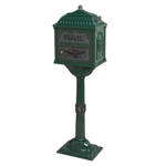 Gaines - Forest Green Pedestal Classic Mailbox With Verde Brass Accents