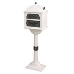 Gaines - White Pedestal Classic Mailbox With Verde Brass Accents