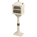 Gaines - Almond Pedestal Classic Mailbox With Antique Bronze Accents