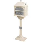 Gaines - Almond Pedestal Classic Mailbox With Satin Nickel Accents