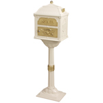 Gaines - Almond Pedestal Classic Mailbox With Polished Brass Accents