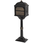 Gaines - Black Pedestal Classic Mailbox With Antique Bronze Accents