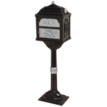Gaines - Black Pedestal Classic Mailbox With Satin Nickel Accents