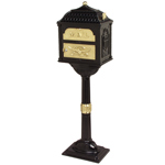 Gaines - Black Pedestal Classic Mailbox With Polished Brass Accents