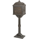 Gaines - Metallic Bronze Pedestal Classic Mailbox With Bronze Accents