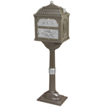 Gaines - Metallic Bronze Pedestal Classic Mailbox With Satin Nickel Accents