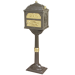 Gaines - Metallic Bronze Pedestal Classic Mailbox With Brass Accents