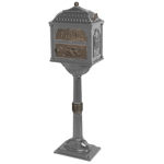 Gaines - Metallic Charcoal Pedestal Classic Mailbox With Antique Bronze Accents
