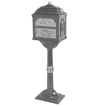 Gaines - Metallic Charcoal Pedestal Classic Mailbox With Satin Nickel Accents