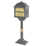 Gaines - Metallic Charcoal Pedestal Classic Mailbox With Polished Brass Accents