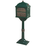 Gaines - Forest Green Pedestal Classic Mailbox With Bronze Accents