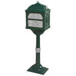 Gaines - Forest Green Pedestal Classic Mailbox With Satin Nickel Accents
