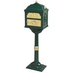 Gaines - Forest Green Pedestal Classic Mailbox With Brass Accents