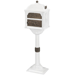 Gaines - White Pedestal Classic Mailbox With Antique Bronze Accents