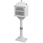 Gaines - White Pedestal Classic Mailbox With Satin Nickel Accents