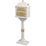 Gaines - White Pedestal Classic Mailbox With Polished Brass Accents