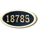 Gaines - 1 Line Black 5 Letter Oval House Number Plaques