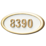 Gaines - 1 Line White 5 Letter Oval House Number Plaques