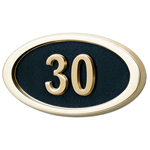 Gaines - 1 Line Black 3 Letter Oval House Number Plaques