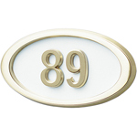 Gaines - 1 Line White 3 Letter Oval House Number Plaques