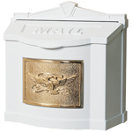 Gaines - White Wallmount Mailbox With Polished Brass Eagle