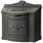 Gaines - Brown Wallmount Mailbox With Powdercoated Eagle