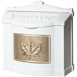 Gaines - White Wallmount Mailbox With Polished Brass Leaf
