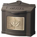 Gaines - Brown Wallmount Mailbox With Polished Brass Leaf