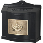 Gaines - Black Wallmount Mailbox With Polished Brass Leaf