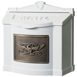 Gaines - White Wallmount Mailbox With Antique Bronze Eagle