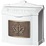 Gaines - White Wallmount Mailbox With Antique Bronze Leaf