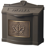 Gaines - Brown Wallmount Mailbox With Antique Bronze Leaf