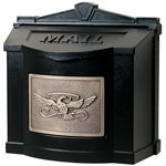 Gaines - Black Wallmount Mailbox With Antique Bronze Eagle