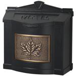 Gaines - Black Wallmount Mailbox With Antique Bronze Leaf