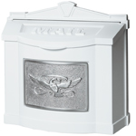 Gaines - White Wallmount Mailbox With Satin Nickel Eagle