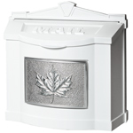 Gaines - White Wallmount Mailbox With Satin Nickel Leaf